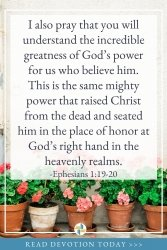 Ephesians 1 - God is with Us and reminds us of God's great power
